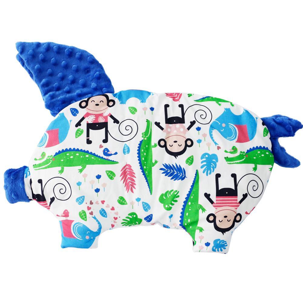 La Millou 豆豆小豬枕嬰兒枕-歡樂拉拉猴(加勒比海藍)