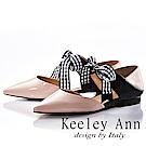 Keeley Ann 氣質甜美~方格緞帶蝴蝶結真皮尖頭平底鞋(粉紅色-Ann)