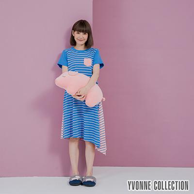 YVONNE條紋拼接絨毛口袋短袖洋裝- 藍