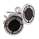MARC JACOBS Logo Disc Stud 字母琺瑯圓盤耳針式耳環(銀x黑)