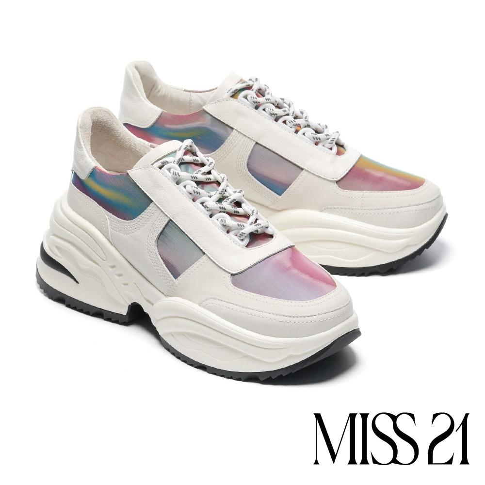 休閒鞋 MISS 21 煥彩藝術異材質拼接綁帶厚底休閒鞋-白