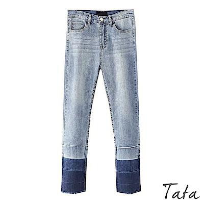 褲腳節段拼色窄管牛仔褲 TATA