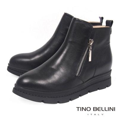 Tino Bellini雙拉鍊全真皮厚底內增高短靴_黑