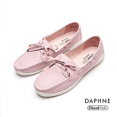 達芙妮DAPHNE 休閒鞋-真皮滾邊綁帶蝴蝶結休閒鞋-粉紅