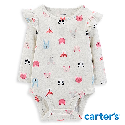 Carter's 動物印圖荷葉長袖包屁衣