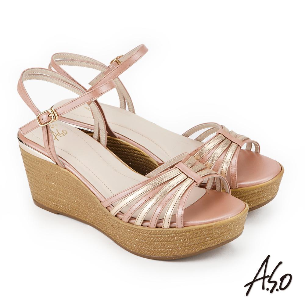 A.S.O 雅緻魅力 雙色楔型奈米涼拖鞋 粉橘