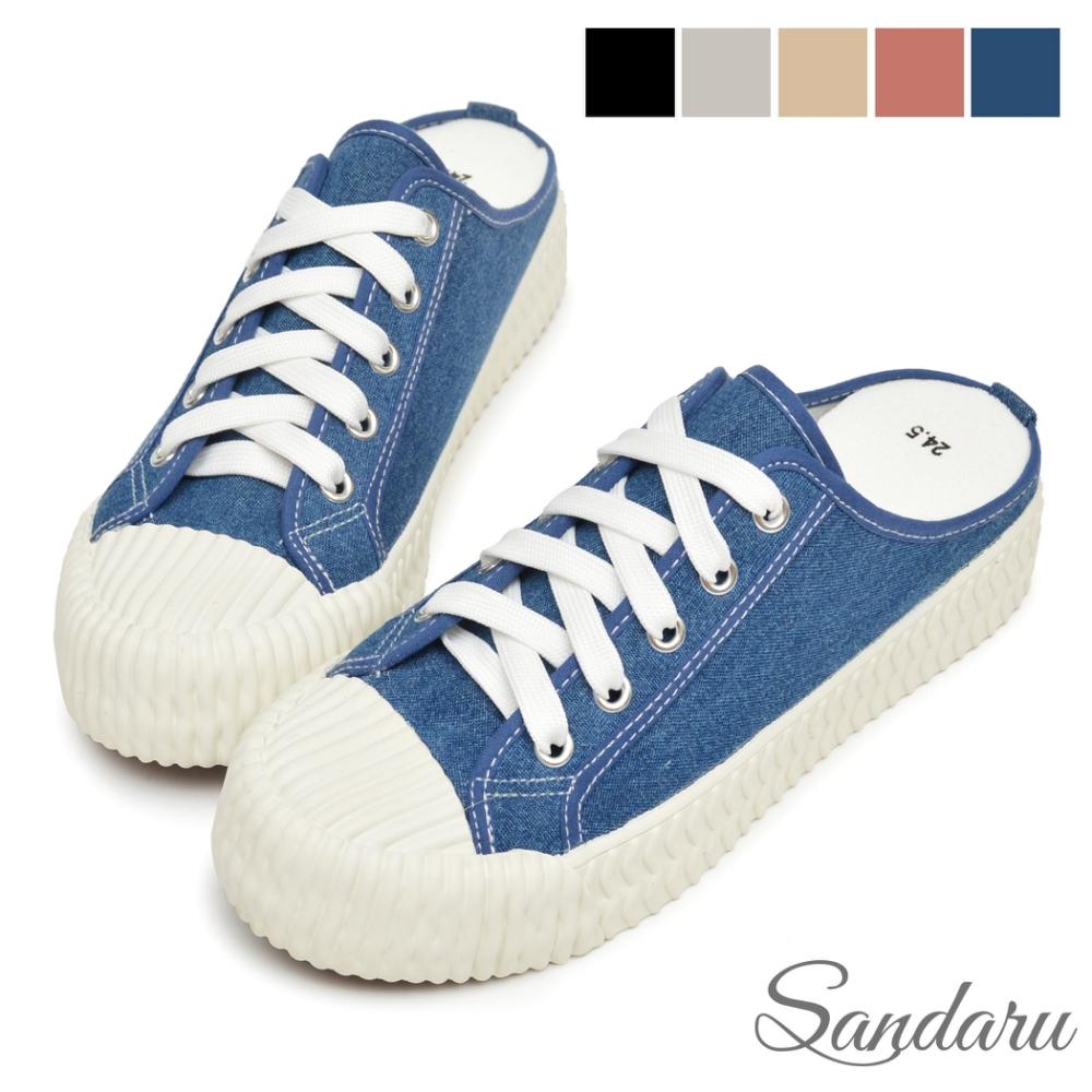 山打努SANDARU-穆勒鞋 MIT微增高帆布餅乾鞋拖鞋-牛仔藍
