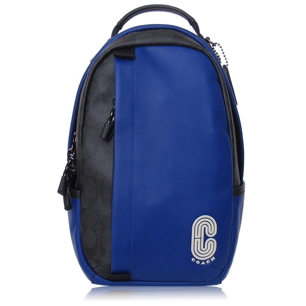 COACH 經典 PVC 拼接 小牛皮 / COACH 徽章 / 單肩 後背包(黑藍色)