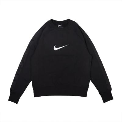 Nike T恤 NSW Swoosh SB Crew 男款 運動休閒 SB滑板 大學T 內刷毛 黑 白 DA0087010