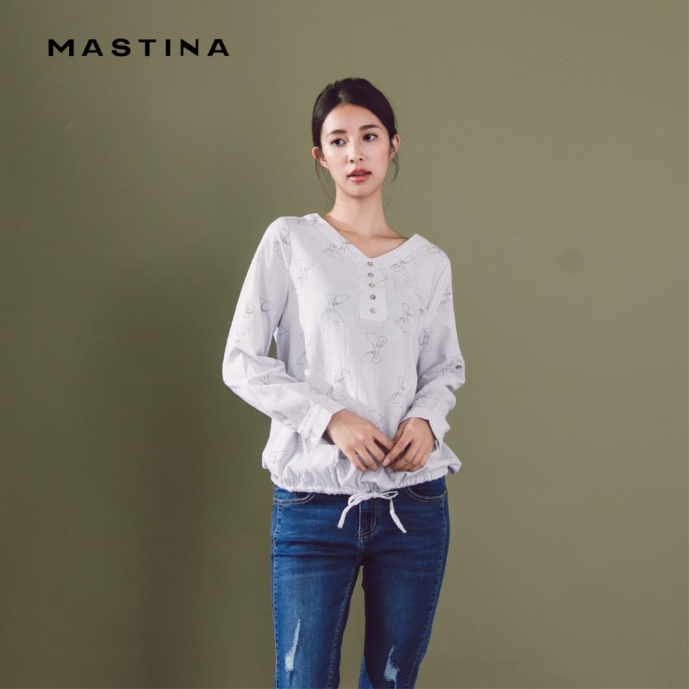 【MASTINA】蝴蝶結印花造型-襯衫(二色)