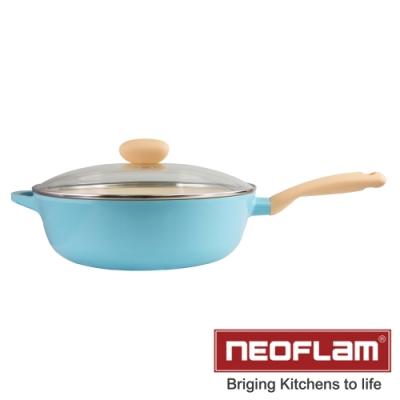 NEOFLAM韓國Retro陶瓷附玻璃蓋不沾炒鍋--30cm--薄荷色-