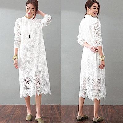 小立領襯衫裙鏤空蕾絲中長版文藝/設計所在SQ965