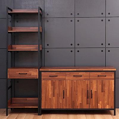 D&T德泰傢俱格萊斯積層木工業風中抽展示架+4.5尺餐櫃-196.2x45.3x196cm