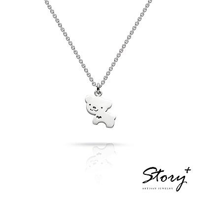 STORY故事銀飾-祈福項鍊 卡片銀飾小熊款