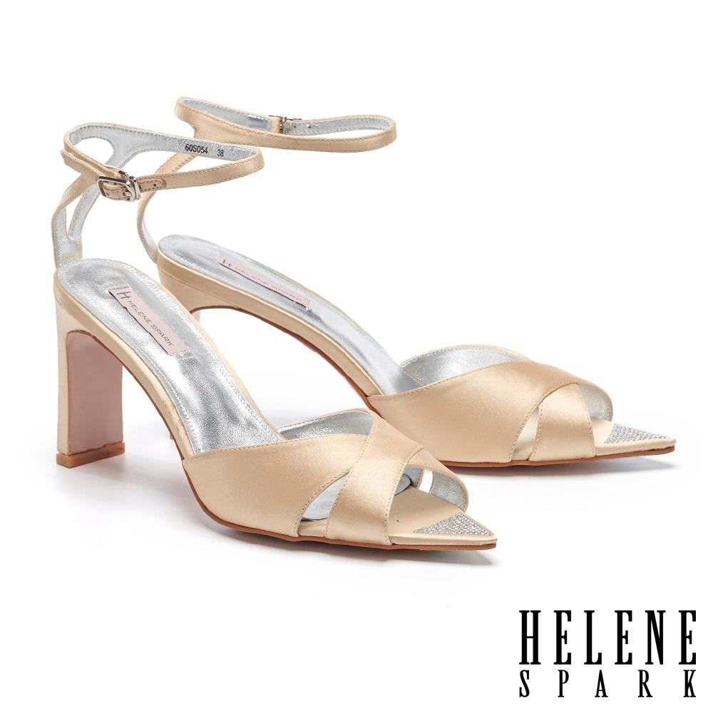 涼鞋 HELENE SPARK 清新耀眼交叉踝繫帶閃鑽尖頭美型高跟涼鞋-金