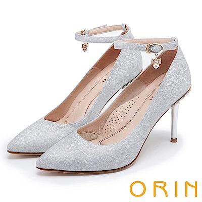 ORIN 晚宴婚嫁首選 後跟金屬鑽飾踝繞尖頭高跟鞋-銀色