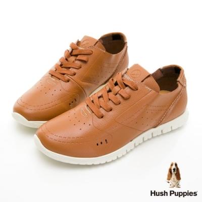 Hush Puppies 真皮輕量健步鞋-咖啡色