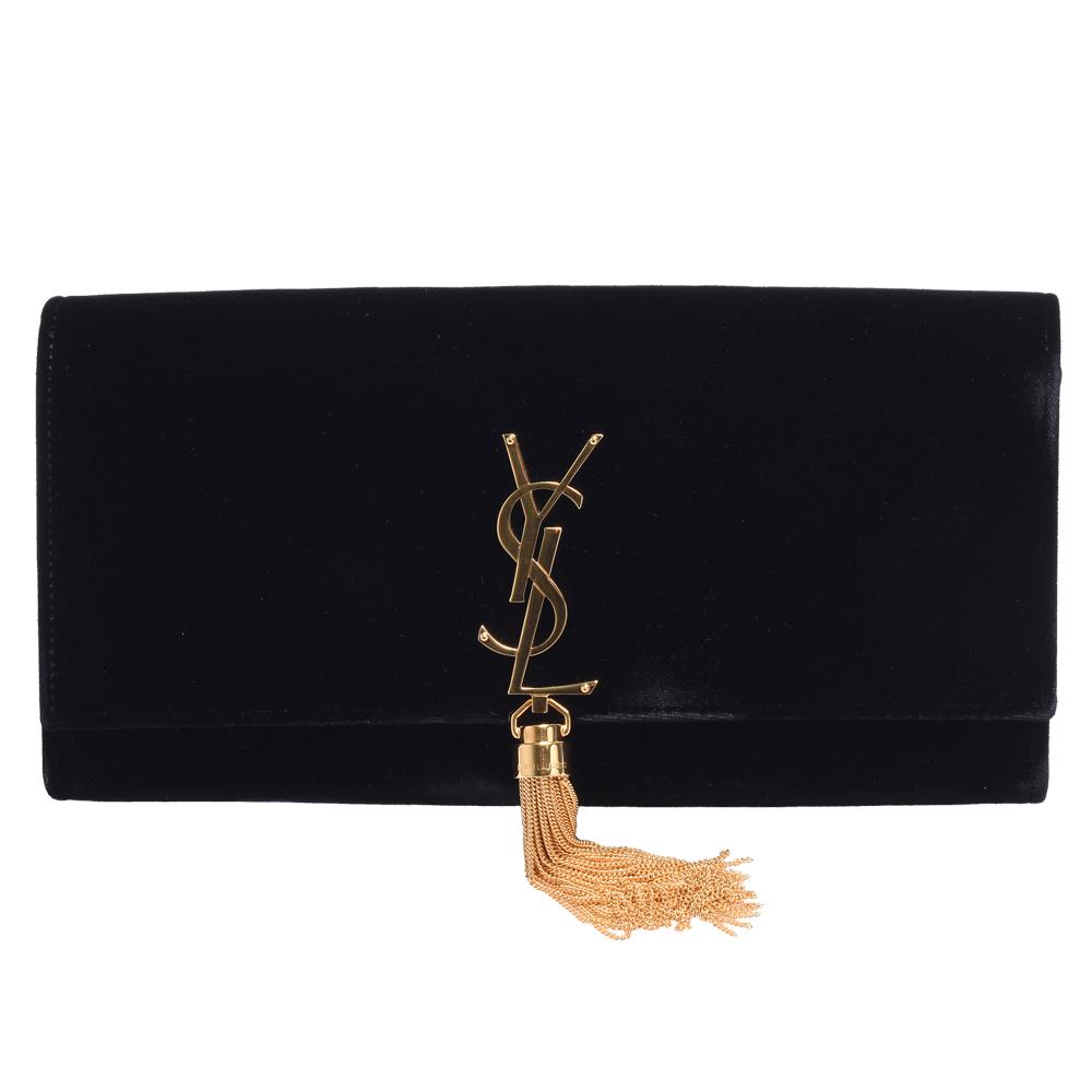 YSL 經典品牌金色LOGO絨面牛皮磁釦手拿包(黑)