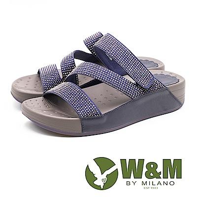 W&M Z型燙鑽厚底拖鞋 女鞋 - 寶藍色(另有灰)