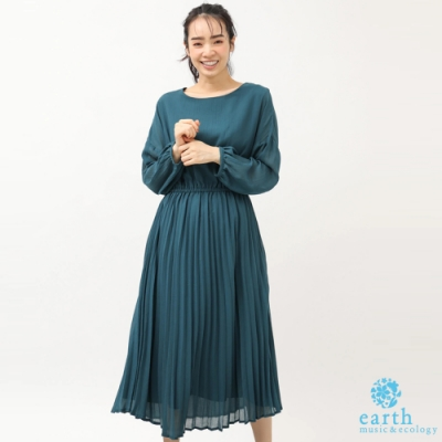 earth music 百摺雪紡拼接素面連身洋裝
