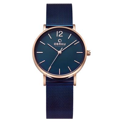 OBAKU 摩登驚豔鋼質女性腕錶-玫瑰金色x藍色-32mm