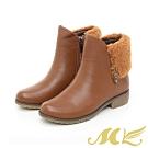 MK-YAHOO獨家款-真皮帥氣反摺毛邊短靴-棕色