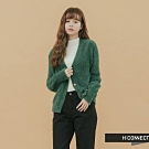 H:CONNECT 韓國品牌 女裝 - 仿皮草排釦針織外套- 綠