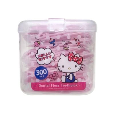 Hello Kitty 凱蒂貓 超韌牙線棒 300 支(盒裝) X 4 盒(台灣製)