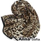 AnnaSofia 漸層豹紋 包邊雪紡圍巾絲巾(深咖系)