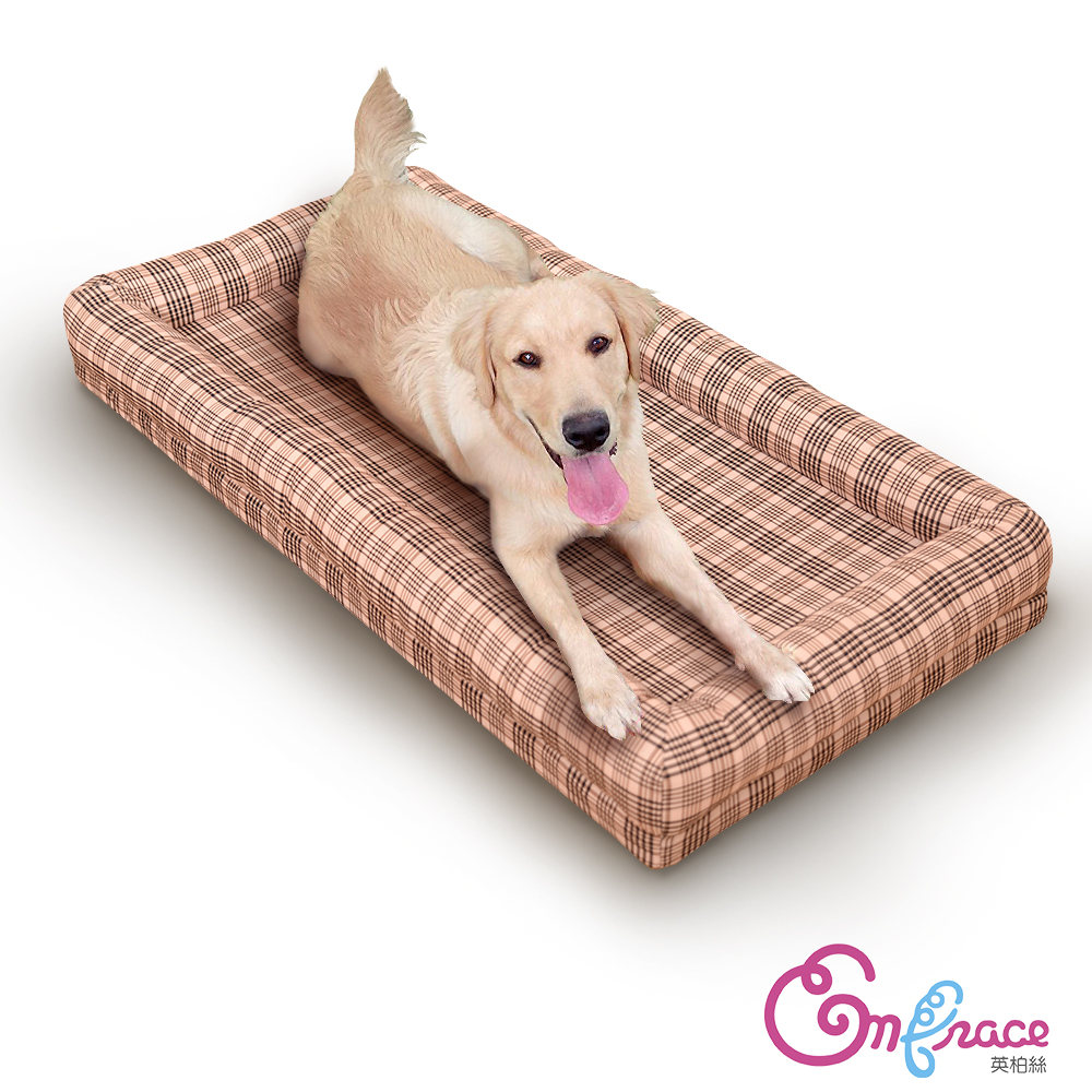 Embrace英柏絲 典雅格紋-大-60x120cm寵物床 記憶床墊 適合大型寵物