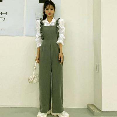 La Belleza減齡時尚木耳荷邊滾邊背帶連身褲闊腿褲百搭吊帶褲