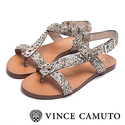 VINCE CAMUTO 個性鉚釘繫帶平底涼鞋-金色