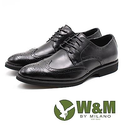 W&M (男)壓紋紳士綁帶皮鞋-黑(另有咖)
