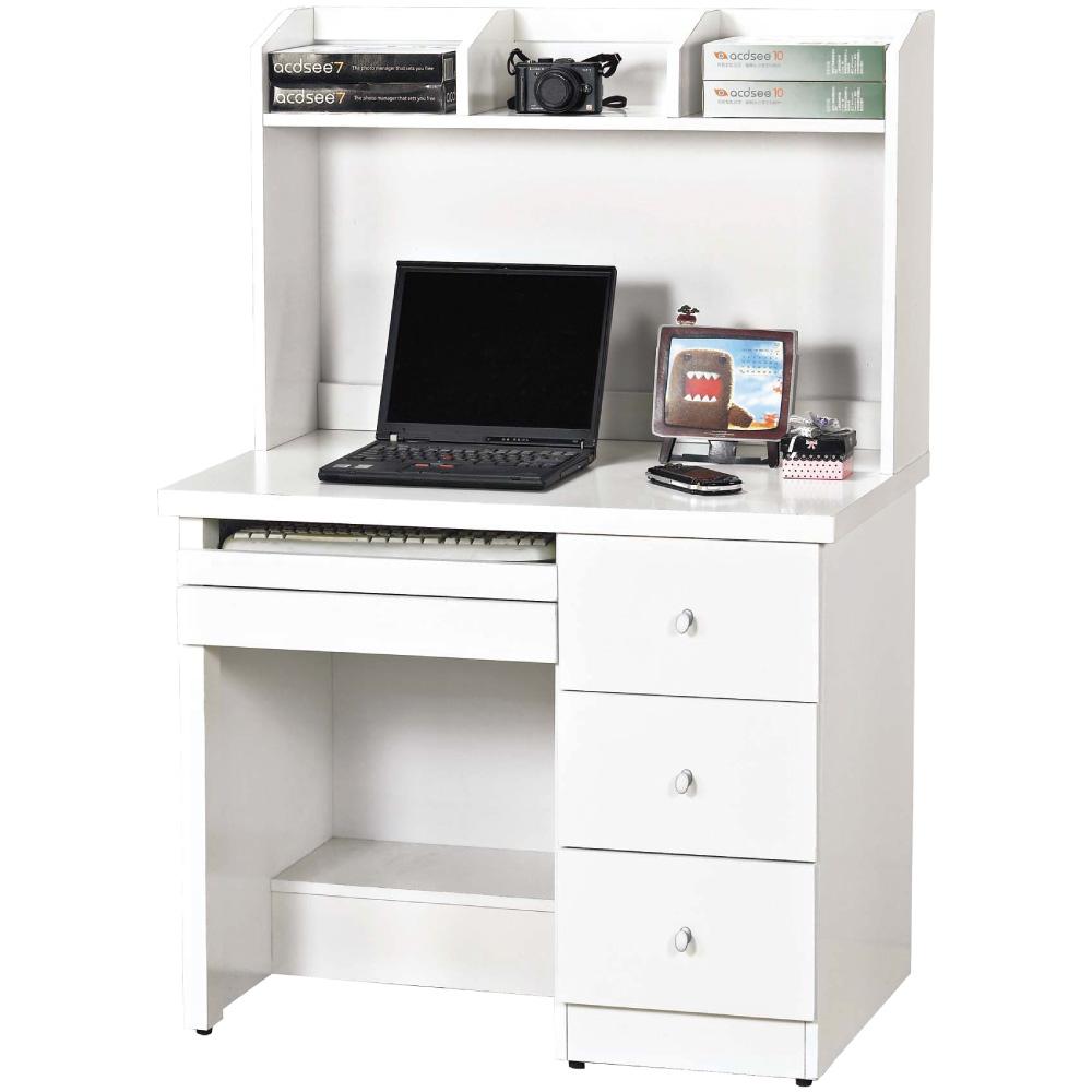 文創集 麥蕾簡約白3尺書桌/電腦桌組合(上+下座)-90x60x135cm免組