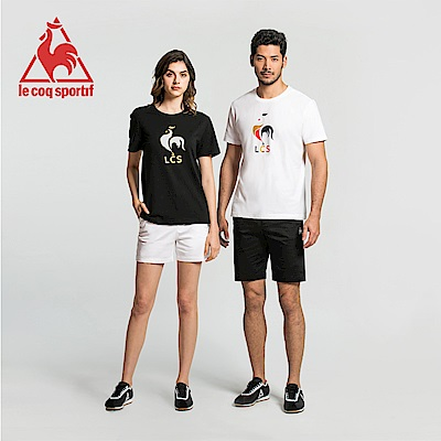 le coq sportif 法國公雞牌印花透氣短袖T恤 男-黑