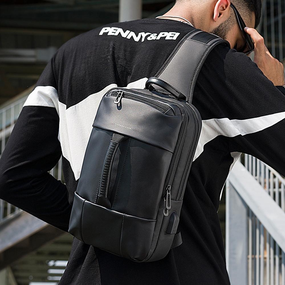 leaper 個性時尚USB充電單肩包胸包 共2色