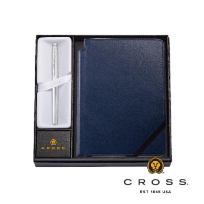 CROSS Classic Century系列亮鉻 鋼珠筆搭藍色筆記本 禮盒