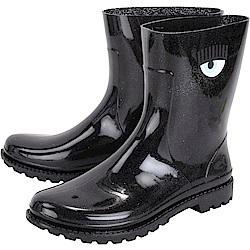 Chiara Ferragni Rainboot 眨眼圖騰低筒雨靴(亮片黑)