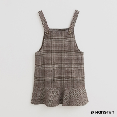 Hang Ten-童裝-格紋花邊下擺吊帶連身裙