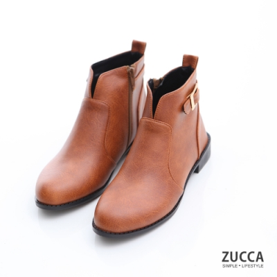 ZUCCA-金屬皮革V釦環短靴-棕-z6908ce