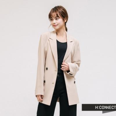 H:CONNECT 韓國品牌 女裝-腰帶造型修身西裝外套-卡其
