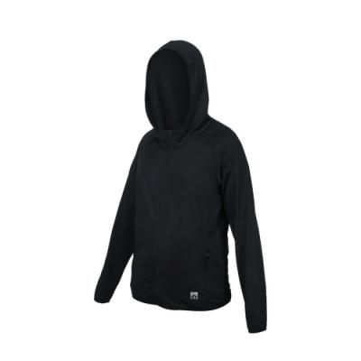 FIRESTAR 女彈性連帽防曬外套-慢跑 路跑 連帽外套 排汗 反光 JL578-10 黑
