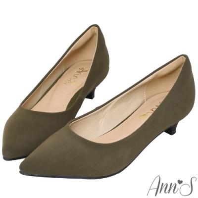 Ann'S健步如飛3.5CM霧皮沙發後跟尖頭鞋-墨綠