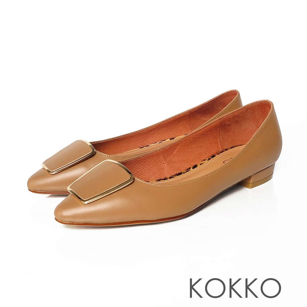 KOKKO金框方扣復古小跟鞋樹木棕