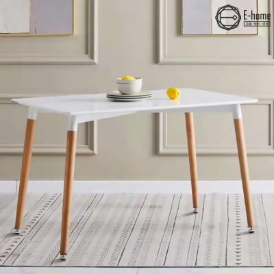 E-home EMST北歐簡約實木腳長方桌-120x60cm-兩色可選