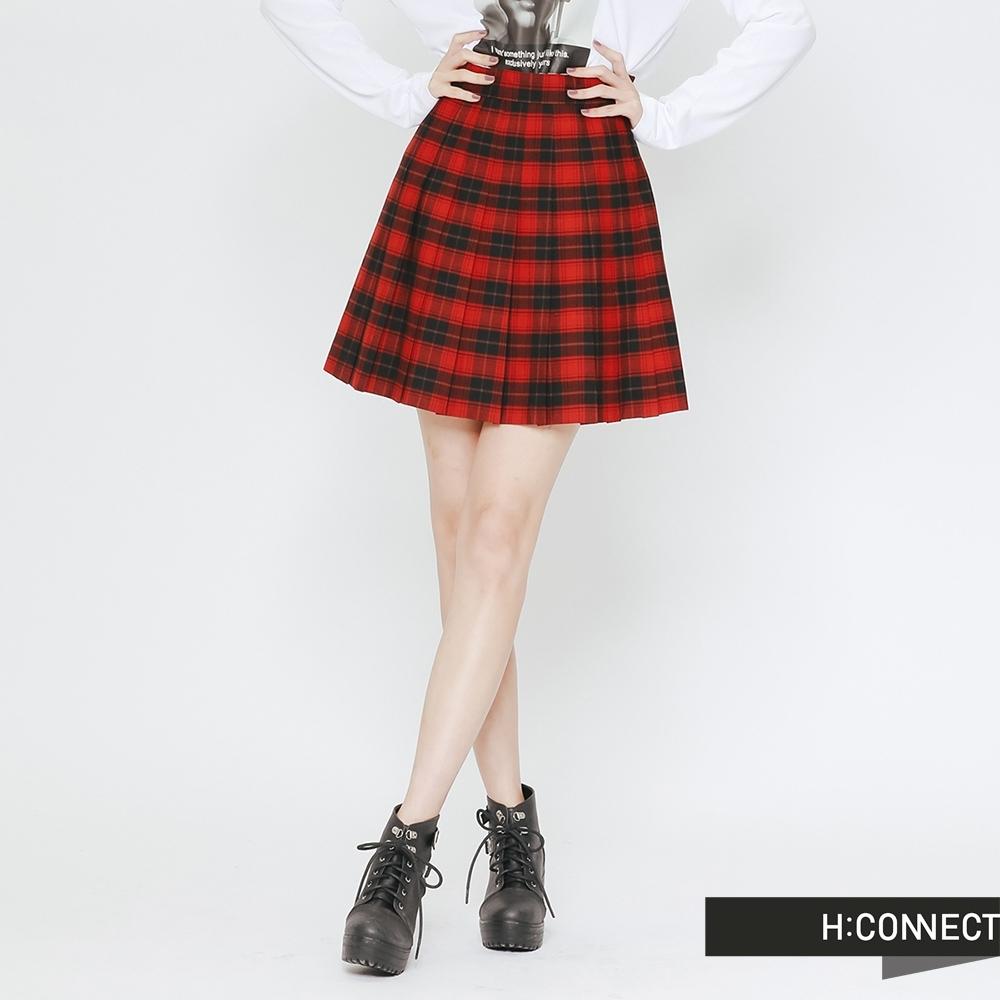 H:CONNECT 韓國品牌 女裝 - 格紋配色百褶短裙-紅(快)