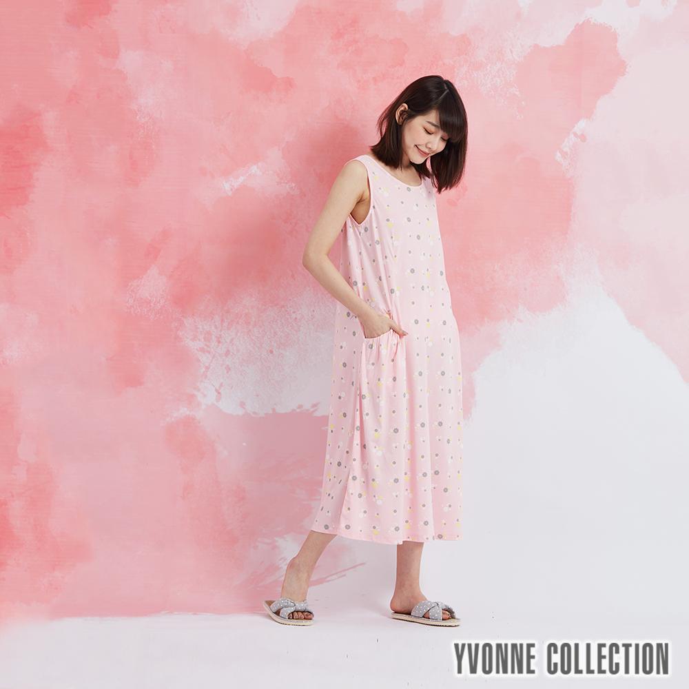 YVONNE 小花側邊口袋無袖洋裝-淺粉