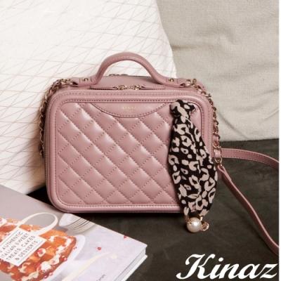 KINAZ 誘人香氣兩用鏈帶斜背包-粉芭蕾-莫爾納煙囪捲系列-快