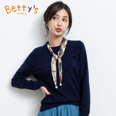 betty's貝蒂思 圓領珠飾領巾針織衫(深藍)