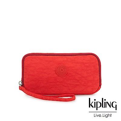 Kipling 珊瑚紅素面手拿長夾-ZORA